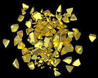 Gold nuggets rendering broken pieces Royalty Free Stock Photos
