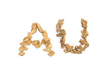 Gold nuggets spelling AU Royalty Free Stock Photography