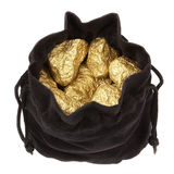 Gold nuggets stones in a bag. Royalty Free Stock Photography