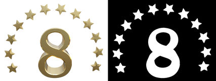 Gold number eight, decorated with a circle of stars. 3D illustration.  Vector Illustration