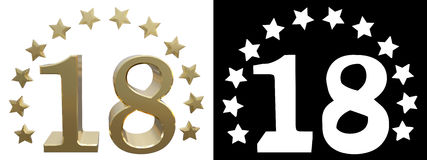 Gold number eighteen, decorated with a circle of stars. 3D illustration Stock Photo