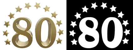 Gold number eighty, decorated with a circle of stars. 3D illustration.  Royalty Free Stock Images
