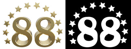 Gold number eighty eight, decorated with a circle of stars. 3D illustration Stock Photography