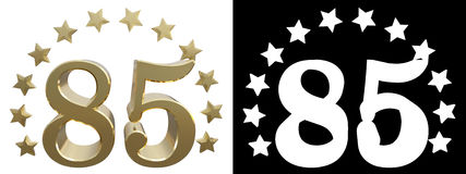 Gold number eighty five, decorated with a circle of stars. 3D illustration Royalty Free Stock Image