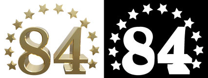 Gold number eighty four, decorated with a circle of stars. 3D illustration Stock Images