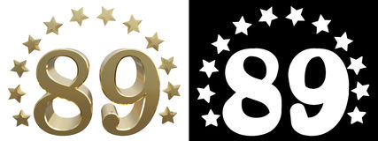 Gold number eighty nine, decorated with a circle of stars. 3D illustration Royalty Free Stock Image