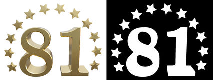 Gold number eighty one, decorated with a circle of stars. 3D illustration.  Royalty Free Stock Photos