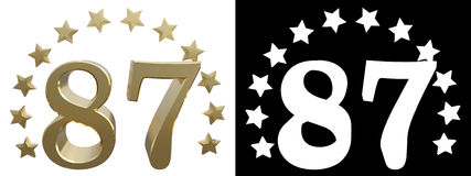 Gold number eighty seven, decorated with a circle of stars. 3D illustration.  Royalty Free Stock Photography