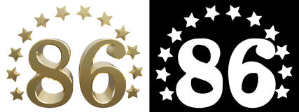 Gold number eighty six, decorated with a circle of stars. 3D illustration Stock Image