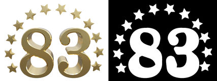Gold number eighty three, decorated with a circle of stars. 3D illustration Stock Photo