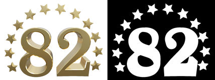 Gold number eighty two, decorated with a circle of stars. 3D illustration Royalty Free Stock Photo