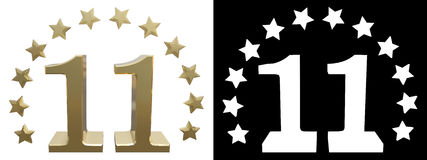 Gold number eleven, decorated with a circle of stars. 3D illustration Royalty Free Stock Image