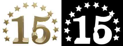 Gold number fifteen, decorated with a circle of stars. 3D illustration Stock Images