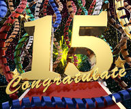 Gold number fifteen with the words congratulations on a background of colorful ribbons and salute. 3D illustration Stock Photo