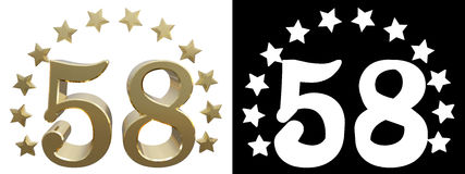 Gold number fifty eight, decorated with a circle of stars. 3D illustration.  Royalty Free Stock Photography