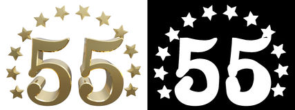 Gold number fifty five, decorated with a circle of stars. 3D illustration Royalty Free Stock Image