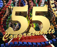 Gold number fifty five with the word congratulate on a background of colorful ribbons and salute. 3D illustration.  Royalty Free Stock Photography