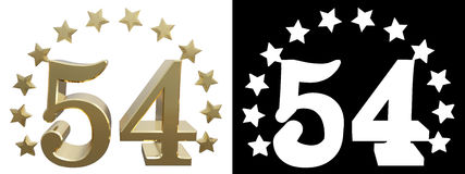 Gold number fifty four, decorated with a circle of stars. 3D illustration Royalty Free Stock Image