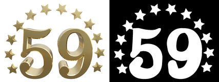 Gold number fifty nine, decorated with a circle of stars. 3D illustration.  Royalty Free Stock Photography