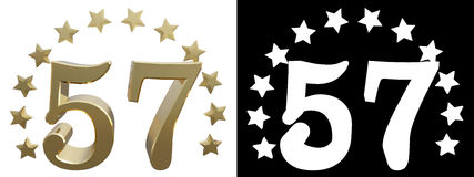 Gold number fifty seven, decorated with a circle of stars. 3D illustration Royalty Free Stock Image
