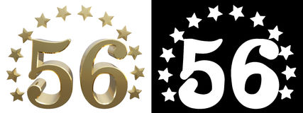 Gold number fifty six, decorated with a circle of stars. 3D illustration.  Royalty Free Stock Images
