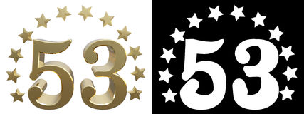 Gold number fifty three, decorated with a circle of stars. 3D illustration Royalty Free Stock Photo