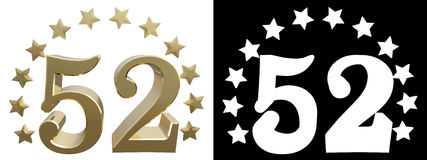 Gold number fifty two, decorated with a circle of stars. 3D illustration.  vector illustration