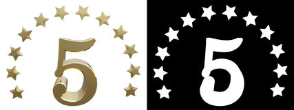 Gold number five, decorated with a circle of stars. 3D illustration.  Royalty Free Stock Images