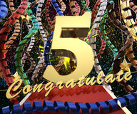 Gold number five with the words congratulations on a background of colorful ribbons and salute. 3D illustration.  Royalty Free Stock Images