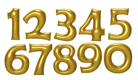 Gold number foil balloon set with clipping path Royalty Free Stock Images