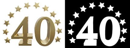 Gold number forty, decorated with a circle of stars. 3D illustration.  Royalty Free Illustration