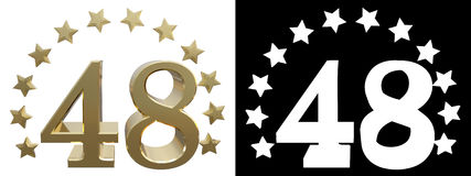 Gold number forty eight, decorated with a circle of stars. 3D illustration Stock Photos