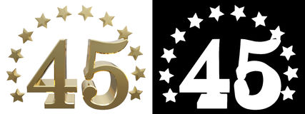 Gold number forty five, decorated with a circle of stars. 3D illustration.  Royalty Free Stock Photos
