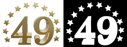 Gold number forty nine, decorated with a circle of stars. 3D illustration Stock Photo