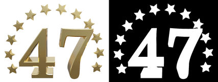 Gold number forty seven, decorated with a circle of stars. 3D illustration Royalty Free Stock Photo