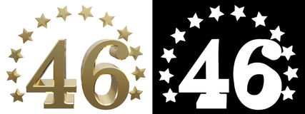 Gold number forty six, decorated with a circle of stars. 3D illustration Stock Photo