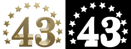 Gold number forty three, decorated with a circle of stars. 3D illustration. Gold number oforty three, decorated with a circle of stars. 3D illustration Royalty Free Stock Images