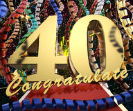 Gold number forty with the words congratulations on a background of colorful ribbons and salute. 3D illustration.  Royalty Free Stock Photo
