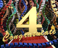 Gold number four with the words congratulations on a background of colorful ribbons and salute. 3D illustration.  Stock Photo