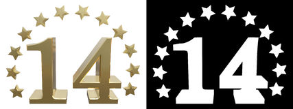 Gold number fourteen, decorated with a circle of stars. 3D illustration.  Stock Images