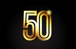 Gold number 50 logo icon design. Gold number 50 logo design suitable for a company or business stock illustration