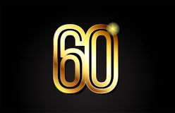 Gold number 60 logo icon design. Gold number 60 logo design suitable for a company or business vector illustration
