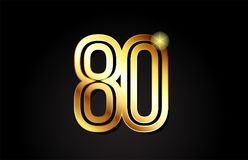 Gold number 80 logo icon design. Gold number 80 logo design suitable for a company or business Vector Illustration