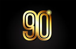 Gold number 90 logo icon design. Gold number 90 logo design suitable for a company or business Vector Illustration