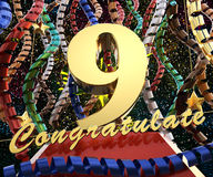 Gold number nine with the words congratulations on a background of colorful ribbons and salute. 3D illustration.  Royalty Free Stock Image