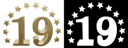 Gold number nineteen, decorated with a circle of stars. 3D illustration Royalty Free Stock Photo