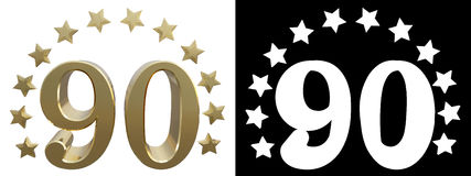 Gold number ninety, decorated with a circle of stars. 3D illustration.  royalty free illustration