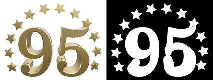 Gold number ninety five, decorated with a circle of stars. 3D illustration Stock Photo