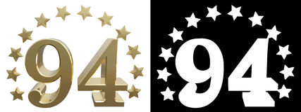 Gold number ninety four, decorated with a circle of stars. 3D illustration Royalty Free Stock Image