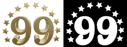 Gold number ninety nine, decorated with a circle of stars. 3D illustration.  Royalty Free Stock Images